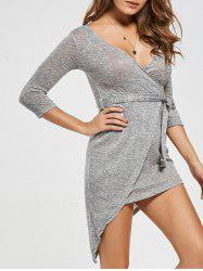 V-neck Asymmetric Bodycon Surplice Dress