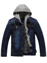 Button Up Detachable Hood Pockets Denim Jacket