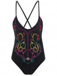 Plus Size One Piece Embroidered Swimsuit