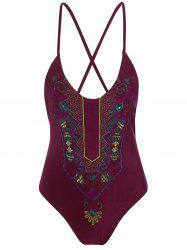 Embroidered Cross Back Plus Size Swimsuit