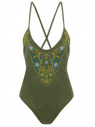 Plus Size Cross Back Embroidered Swimsuit