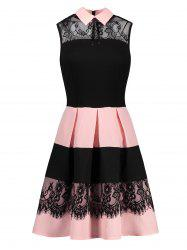 Lace Insert Sleeveless Fit and Flare Dress - COLORMIX