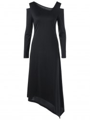 Long Sleeve Cold Shoulder Asymmetric Dress - BLACK