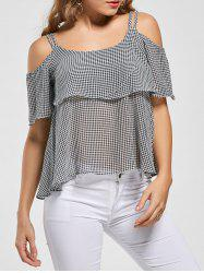 Plaid Ruffle Open Shoulder Blouse