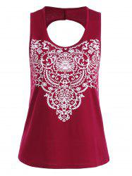 Backless Printed Tank Top - DEEP RED S