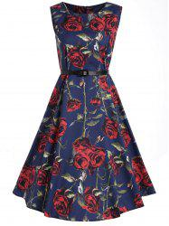 Vintage A Line Rose  Print Party Dress