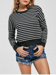 Slim Fit Knit Striped Sweatshirt - BLACK S