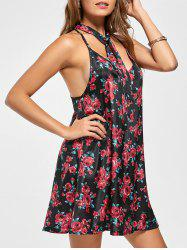 Racerback Floral Print Mini Shift Dress - FLORAL L
