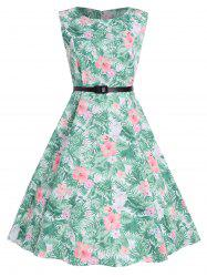 Tropical Print Floral A Line Party Dress