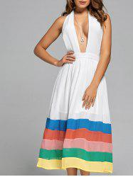 Halter Color Block Chiffon A Line Dress - WHITE