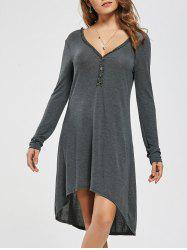 Long Sleeve Buttons High Low Dress