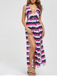 Plunge Slit Colorful Stripe Maxi Dress
