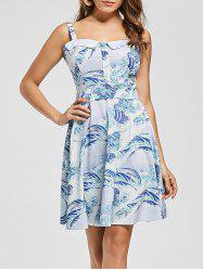 Retro Sea Wave Print Skater Dress