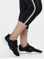 Mesh Breathable Geometric Pattern Athletic Shoes - BLACK