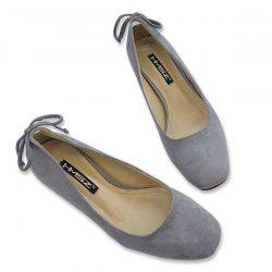 Square Toe Mid Heel Bow Pumps - GRAY