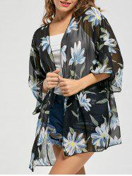Floral Print Chiffon Sheer Kimono Cover Up - BLUE ONE SIZE