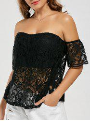 Slit Padded Off The Shoulder Lace Top