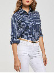 Long Sleeve Striped Shirt with Pockets