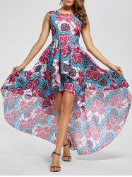 Layered Printed High Low Dress