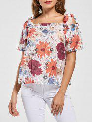 Spaghetti Strap Floral Off Shoulder Blouse