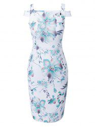 Print Knee Length Cap Sleeve Bodycon Dress
