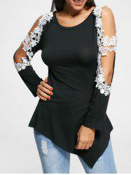 Long Sleeve Cut Out Floral Applique Top - BLACK