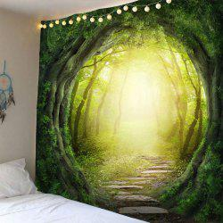 Pathway Tree Hole Waterproof Wall Hanging Tapestry - GREEN