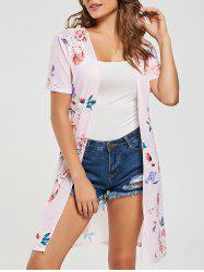 Long Short Sleeve Floral Print Cardigan