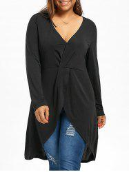 Plus Size Asymmetrical Surplice Tunic Top -