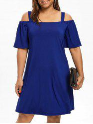 Cold Shoulder Half Sleeve Plus Size Dress - BLUE