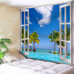 Window Scenery Tapestry Microfiber Wall Hanging