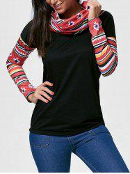 Vintage Cowl Neck Printed Long Sleeve T-Shirt For Women -