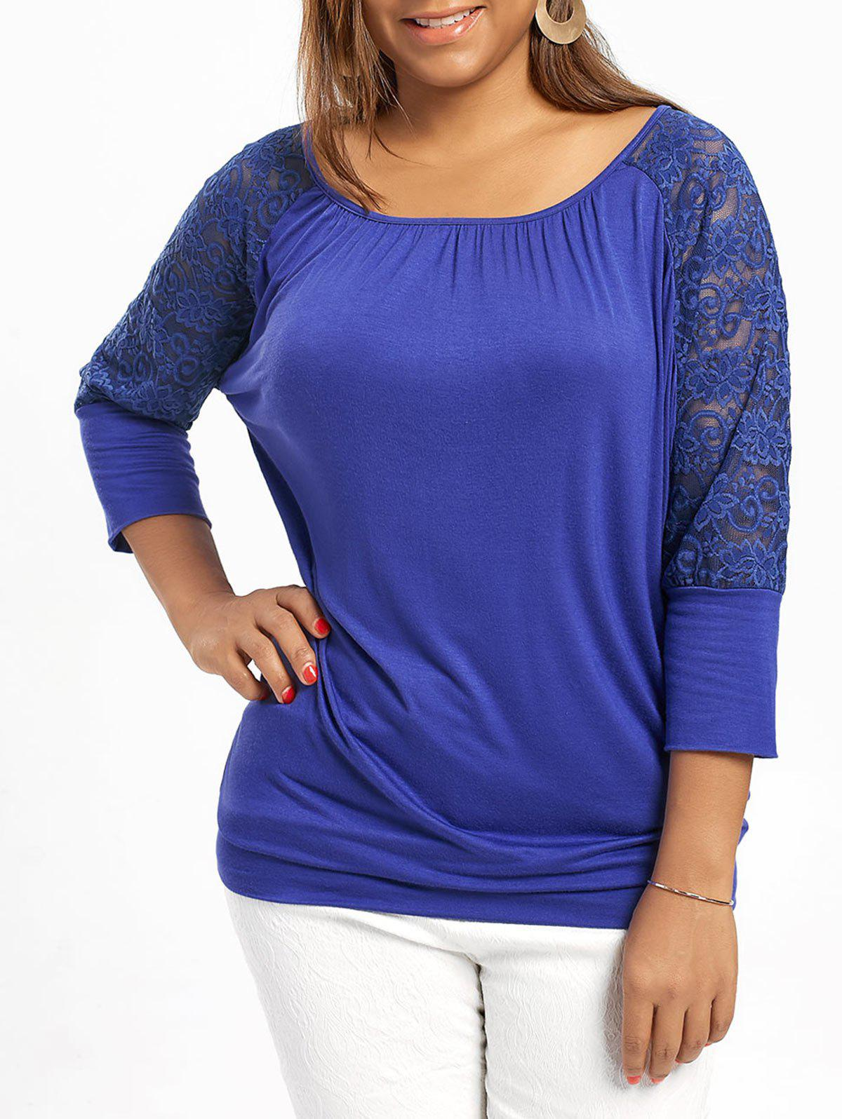 Plus Size Raglan Sleeve Lace Trim TopWOMEN<br><br>Size: 2XL; Color: BLUE; Material: Rayon,Spandex; Shirt Length: Long; Sleeve Length: Three Quarter; Collar: Scoop Neck; Style: Casual; Season: Summer; Embellishment: Lace; Pattern Type: Floral; Weight: 0.2800kg; Package Contents: 1 x Top;