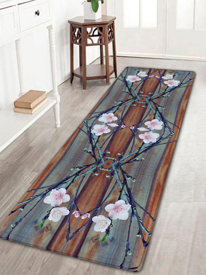 Peach Blossom Print Antislip Flannel RugHOME<br><br>Size: W16 INCH * L47 INCH; Color: WOOD COLOR; Products Type: Bath rugs; Materials: Flannel; Pattern: Floral; Style: Vintage; Shape: Rectangle; Package Contents: 1 x Rug;