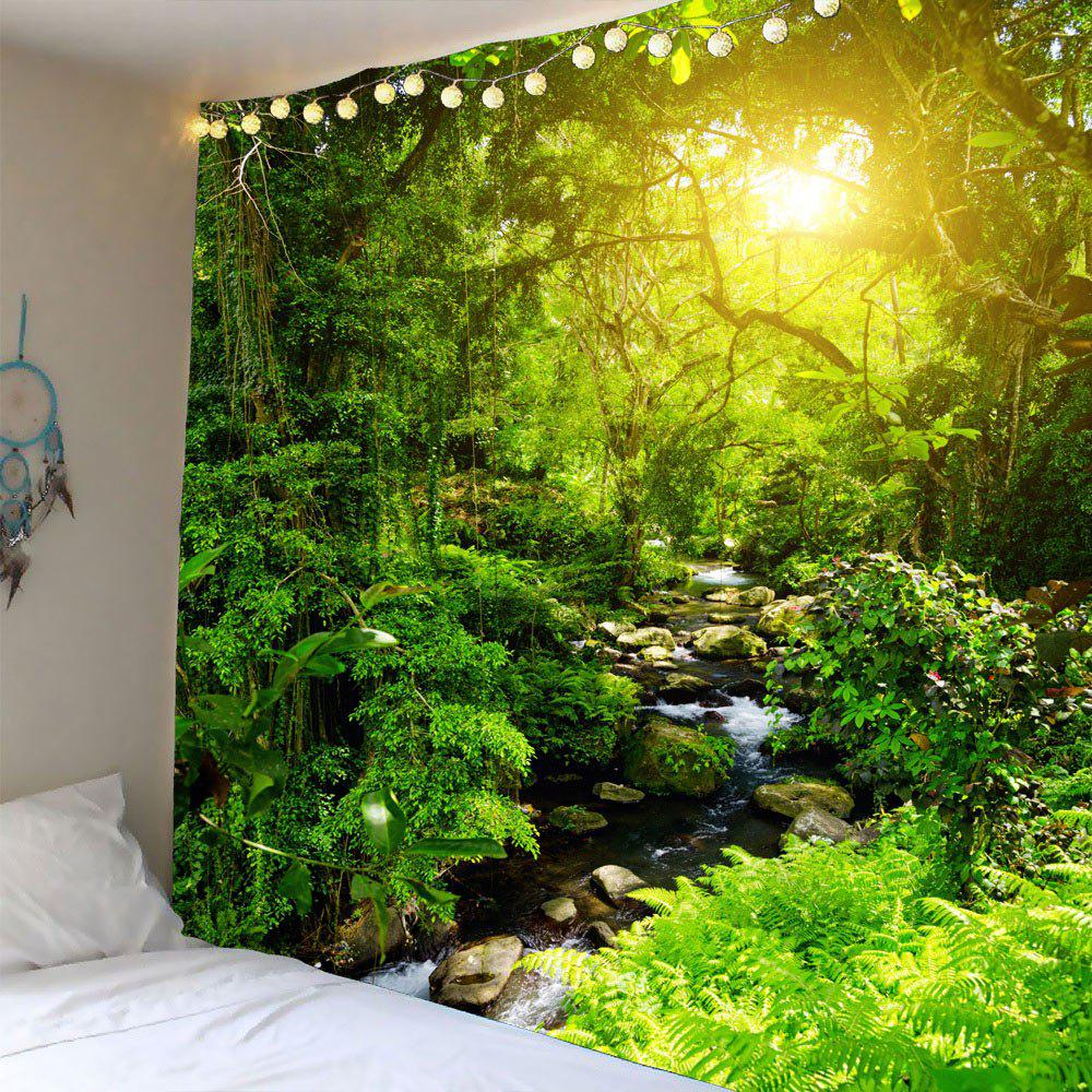 Forest Stream Sunlight Waterproof Wall Art TapestryHOME<br><br>Size: W91 INCH * L71 INCH; Color: GREEN; Style: Natural; Material: Polyester; Feature: Removable,Washable; Shape/Pattern: Plant; Weight: 0.4100kg; Package Contents: 1 x Tapestry;