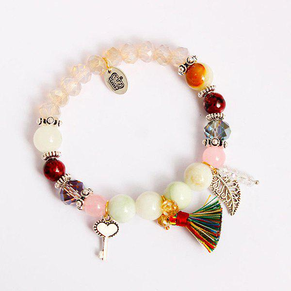 Key Tassel Leaf Charm Beaded BraceletJEWELRY<br><br>Color: COLORMIX; Item Type: Charm Bracelet; Gender: For Women; Chain Type: Beads Bracelet; Style: Trendy; Shape/Pattern: Key,Tassel; Weight: 0.0500kg; Package Contents: 1 x Bracelet;