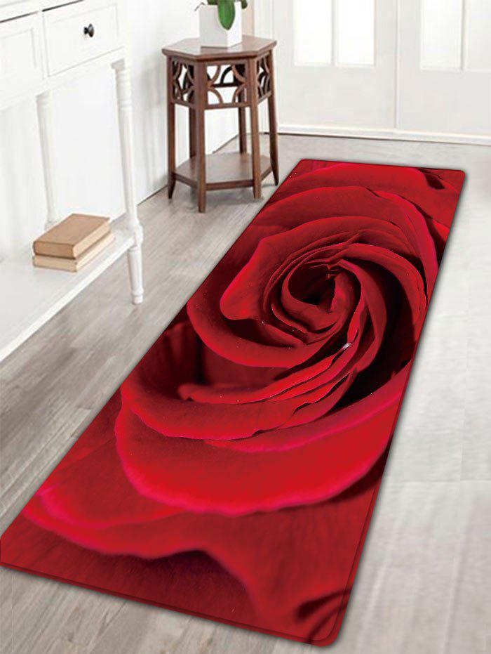 Rose Print Skidproof Flannel Area RugHOME<br><br>Size: W16 INCH * L47 INCH; Color: ROSE MADDER; Products Type: Bath rugs; Materials: Flannel; Pattern: Floral; Style: Romantic; Shape: Rectangle; Package Contents: 1 x Rug;