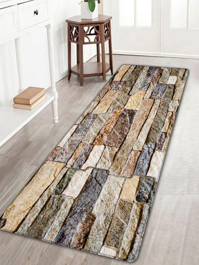 Antislip Flannel Brick Wall Print Area RugHOME<br><br>Size: W16 INCH * L47 INCH; Color: COLORMIX; Products Type: Bath rugs; Materials: Flannel; Pattern: Print; Style: Vintage; Shape: Rectangle; Package Contents: 1 x Rug;