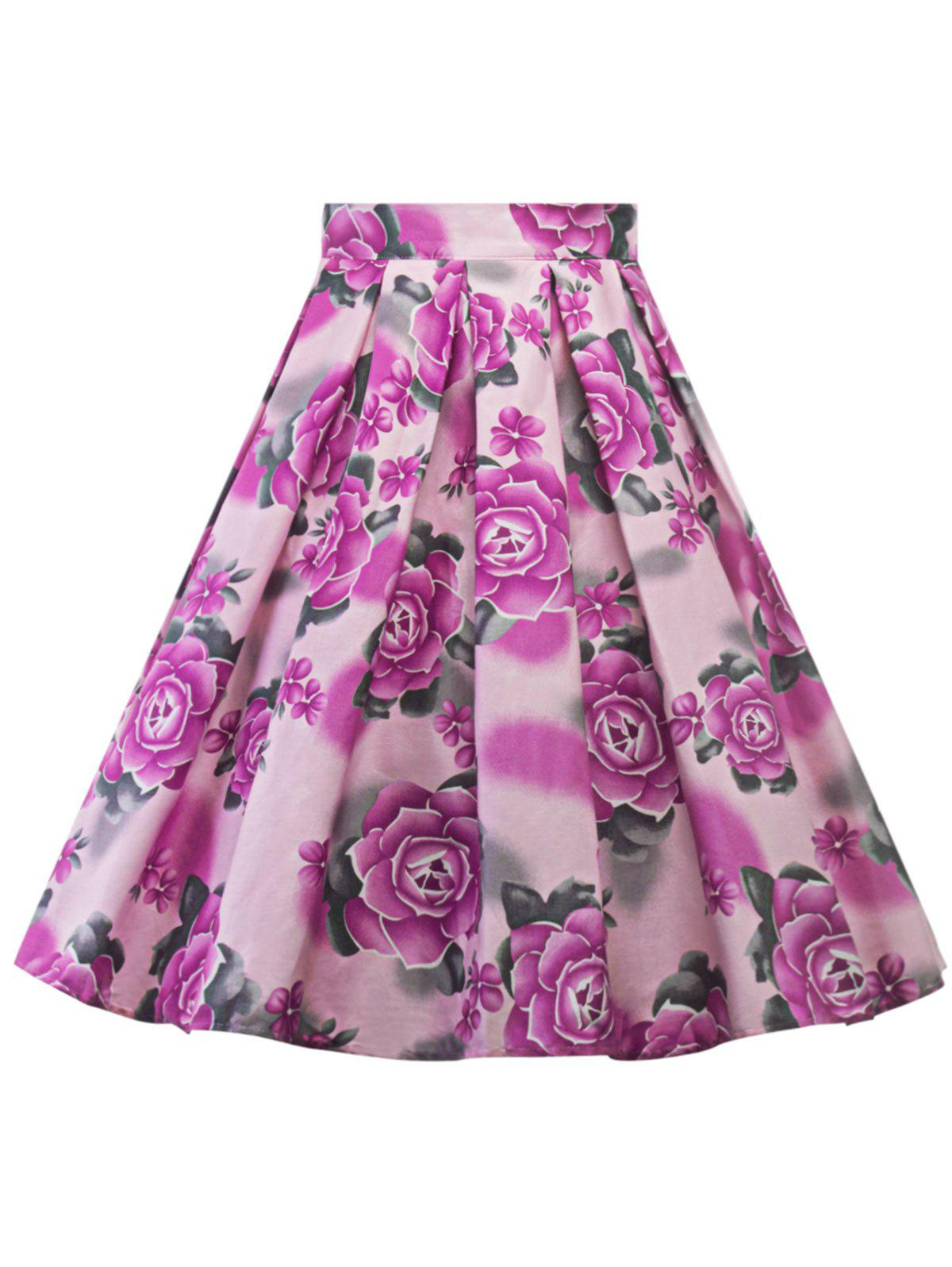 Sale Plus Size A Line Floral Skirt