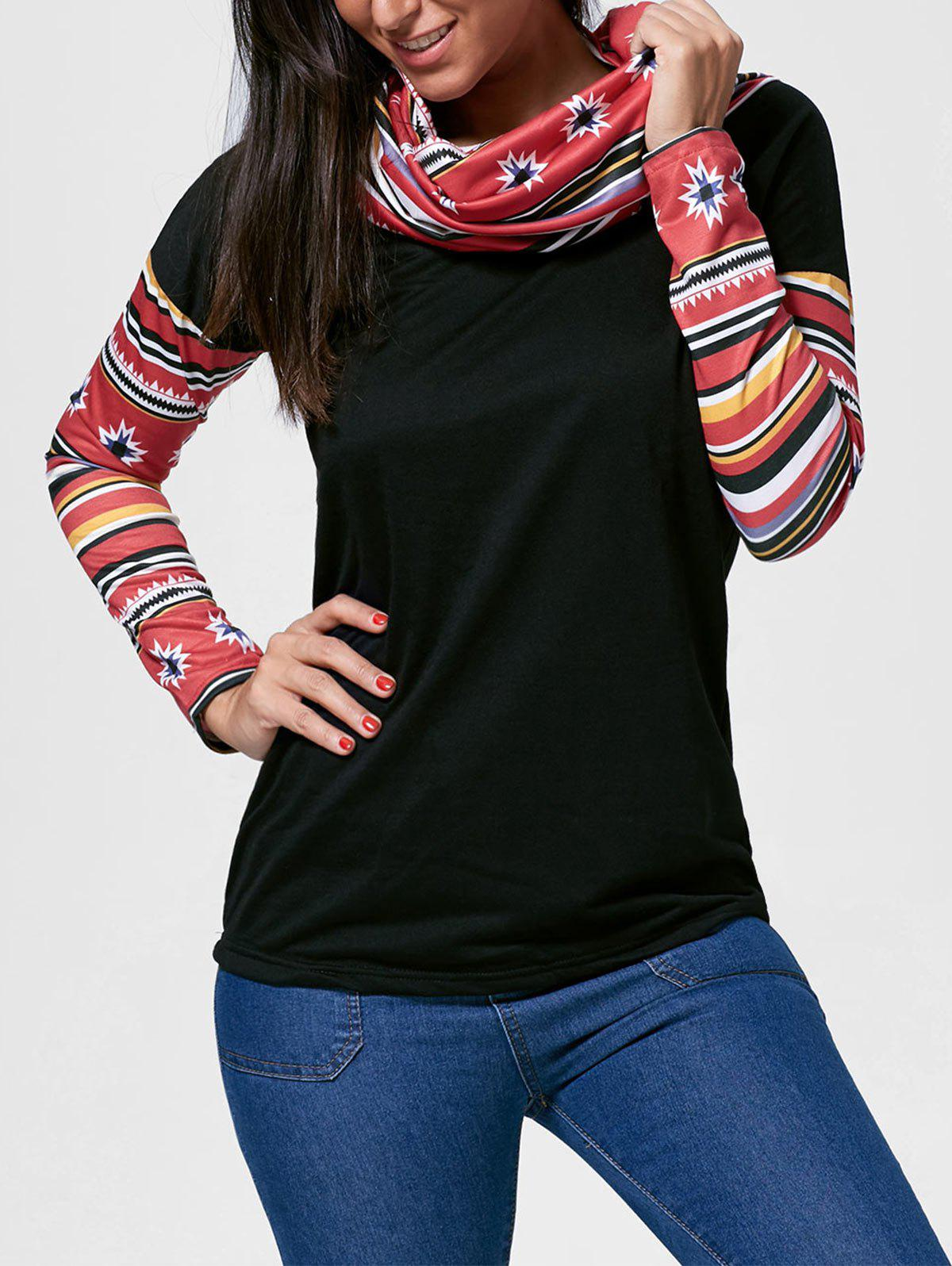 New Vintage Cowl Neck Printed Long Sleeve T-Shirt For Women