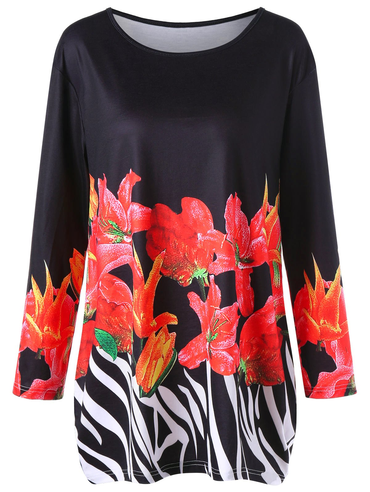 Online Long Sleeve Floral Plus Size Tunic Tee