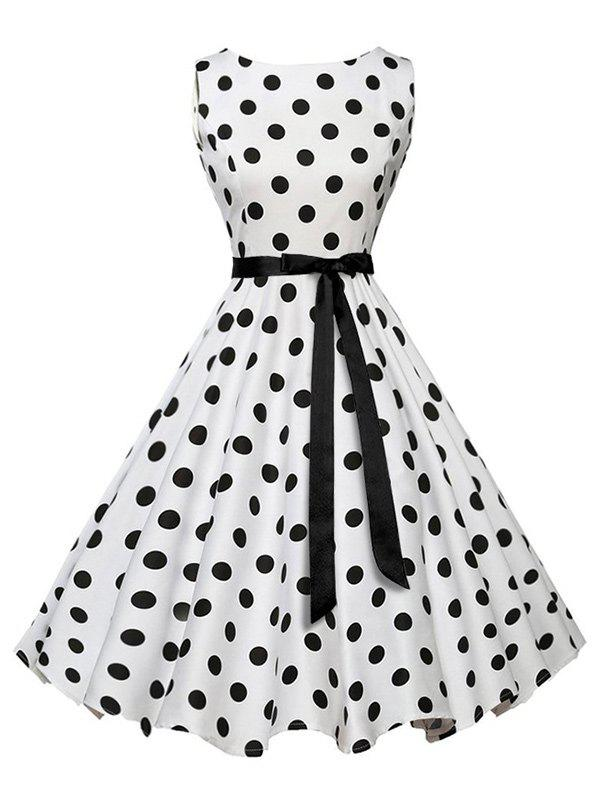 Sleeveless Polka Dot Vintage Dress with BeltWOMEN<br><br>Size: S; Color: WHITE; Style: Vintage; Material: Cotton,Polyester; Silhouette: A-Line; Dress Type: Fit and Flare Dress; Dresses Length: Mid-Calf; Neckline: Round Collar; Sleeve Length: Sleeveless; Pattern Type: Polka Dot; With Belt: Yes; Season: Summer; Weight: 0.3500kg; Package Contents: 1 x Dress;