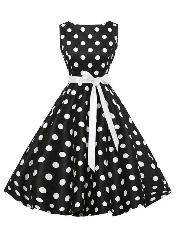 Sleeveless Polka Dot Vintage Dress with BeltWOMEN<br><br>Size: L; Color: BLACK; Style: Vintage; Material: Cotton,Polyester; Silhouette: A-Line; Dress Type: Fit and Flare Dress; Dresses Length: Mid-Calf; Neckline: Round Collar; Sleeve Length: Sleeveless; Pattern Type: Polka Dot; With Belt: Yes; Season: Summer; Weight: 0.3500kg; Package Contents: 1 x Dress;