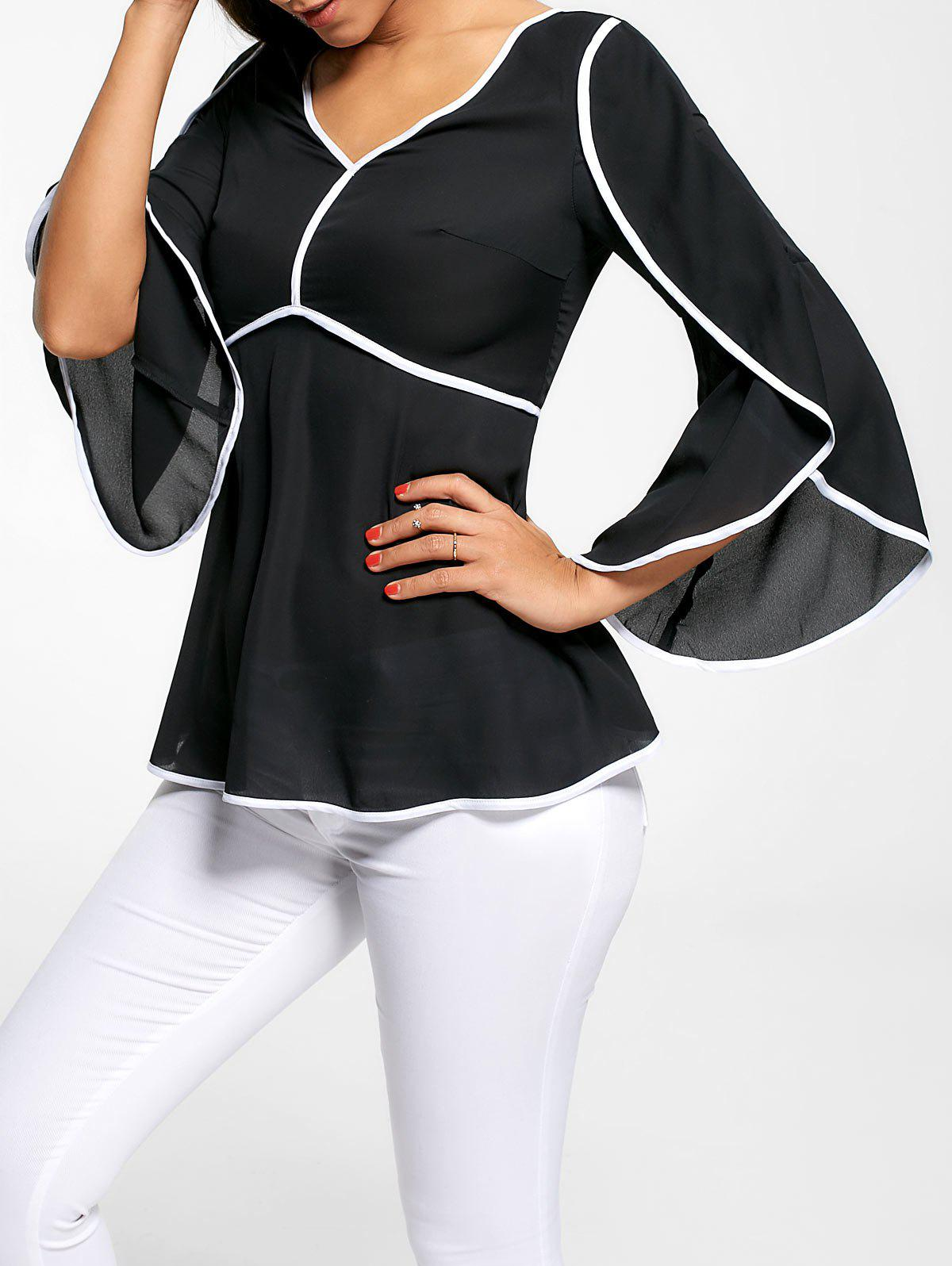 V Neck Contrast Pinping Chiffon TopWOMEN<br><br>Size: L; Color: BLACK; Style: Fashion; Material: Polyester; Shirt Length: Regular; Sleeve Length: Three Quarter; Collar: V-Neck; Pattern Type: Solid; Season: Fall,Spring,Summer; Weight: 0.2700kg; Package Contents: 1 x Top;