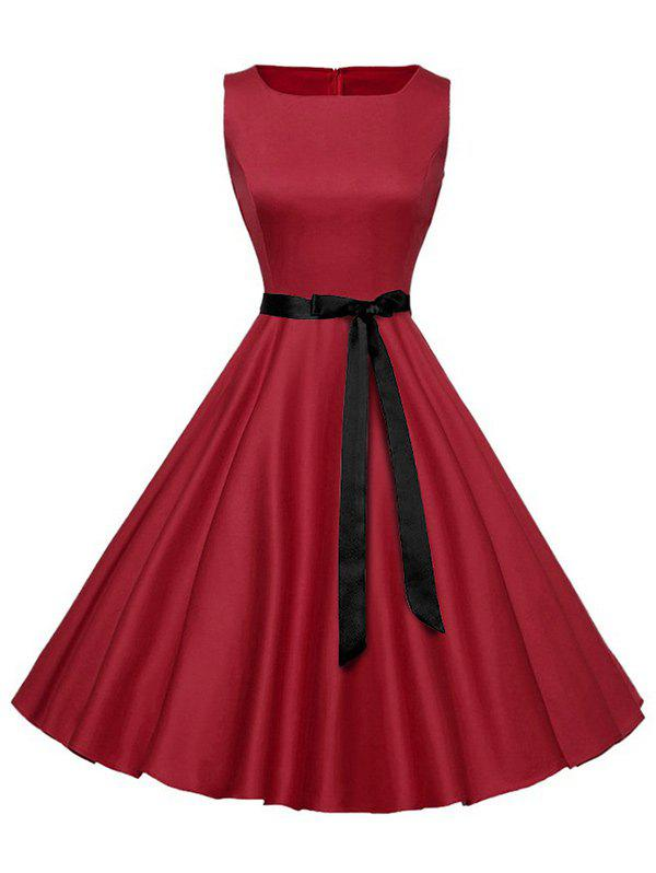 Sleeveless Plain Vintage Belt DressWOMEN<br><br>Size: S; Color: RED; Style: Vintage; Material: Cotton,Polyester; Silhouette: A-Line; Dress Type: Fit and Flare Dress; Dresses Length: Mid-Calf; Neckline: Round Collar; Sleeve Length: Sleeveless; Pattern Type: Solid Color; With Belt: Yes; Season: Summer; Weight: 0.3500kg; Package Contents: 1 x Dress;