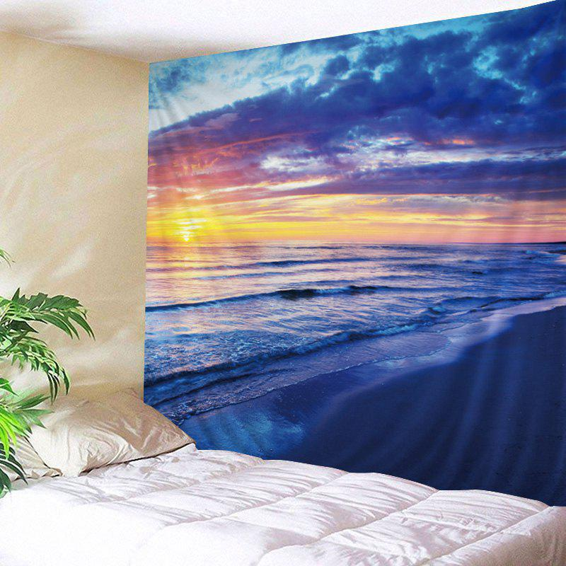 Beach Sunrise Print Tapestry Wall Hanging Art DecorationHOME<br><br>Size: W79 INCH * L59 INCH; Color: BLUE; Style: Beach Style; Theme: Landscape; Material: Polyester; Feature: Washable; Shape/Pattern: Print; Weight: 0.4500kg; Package Contents: 1 x Tapestry;