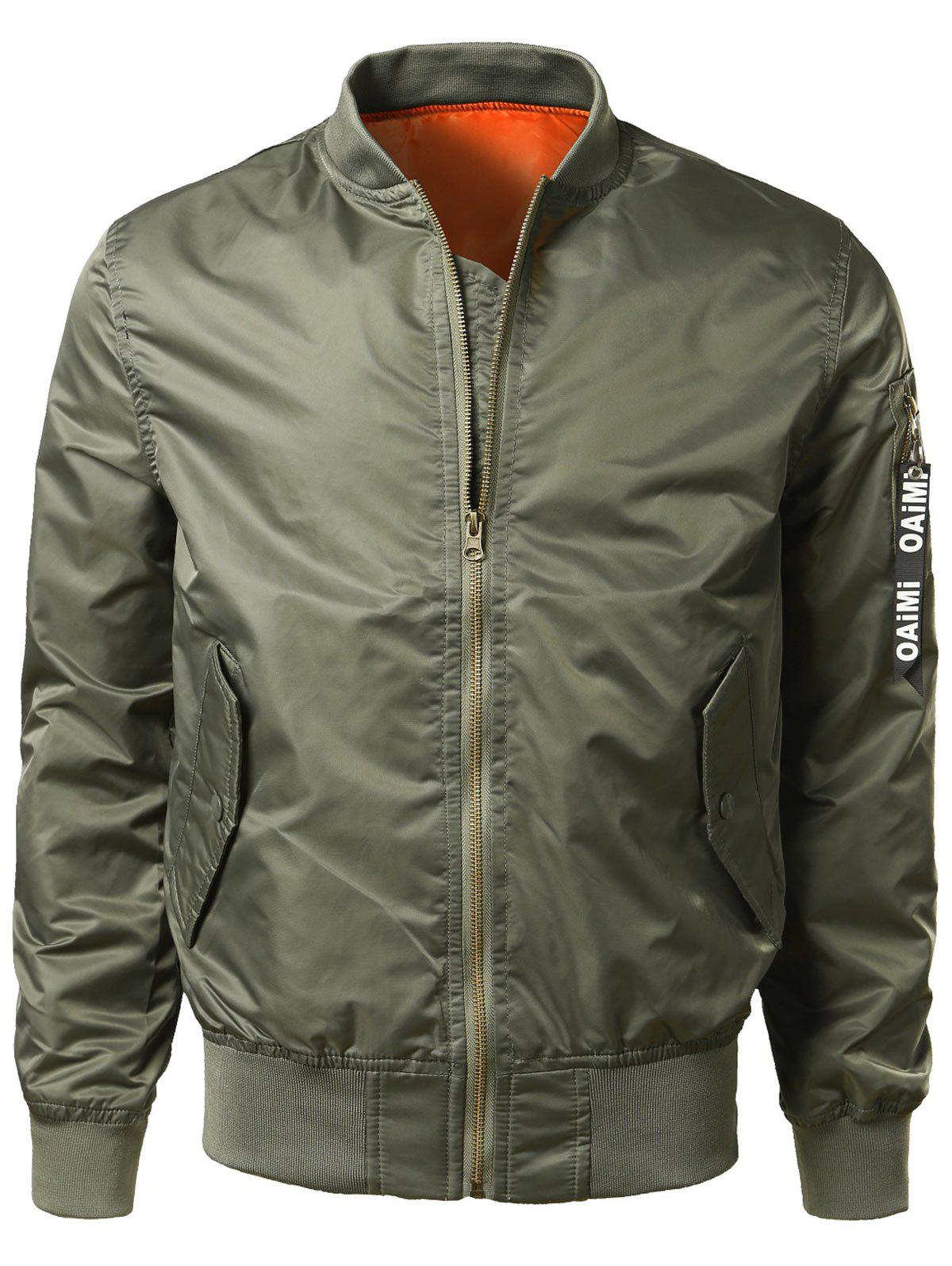 Zipper Up Bomber Jacket with Pocket DetailMEN<br><br>Size: L; Color: ARMY GREEN; Clothes Type: Jackets; Style: Casual; Material: Nylon,Polyester; Collar: Stand Collar; Shirt Length: Regular; Sleeve Length: Long Sleeves; Season: Fall,Spring,Winter; Weight: 0.4500kg; Package Contents: 1 x Jacket;