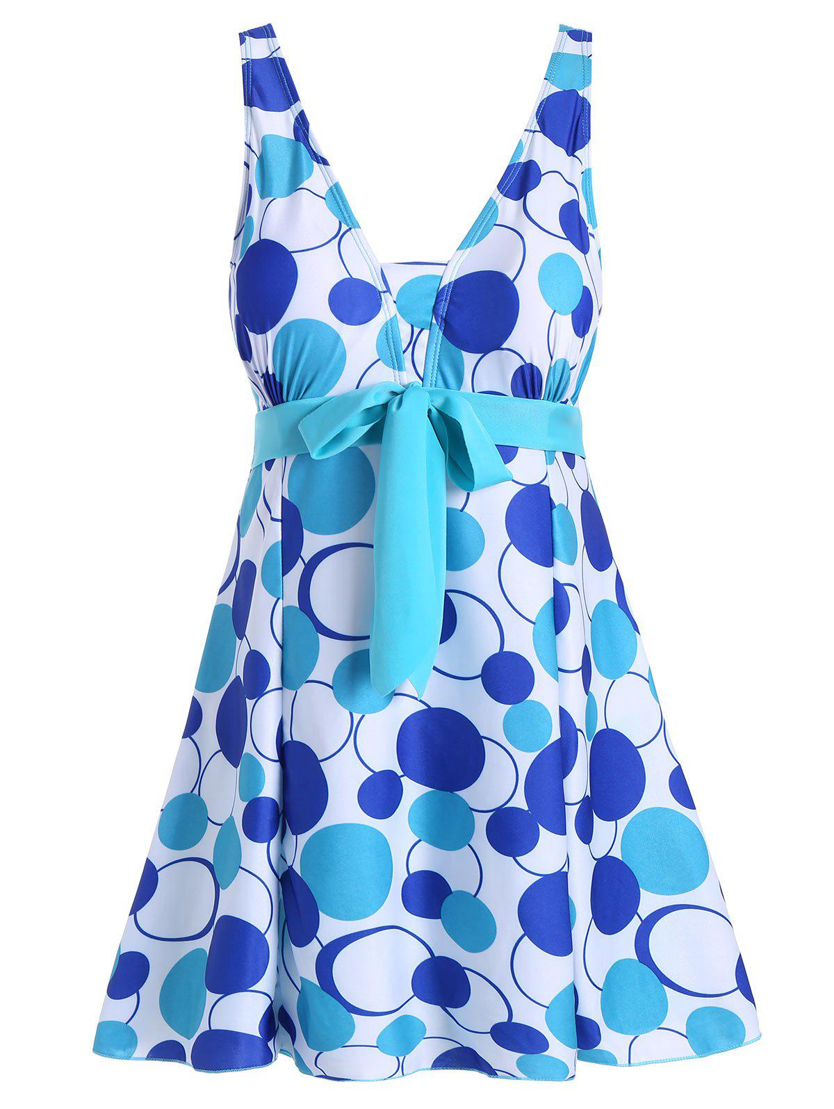 Padded Underwire Polka Dot Plus Size SwimdressWOMEN<br><br>Size: 4XL; Color: LAKE BLUE; Gender: For Women; Swimwear Type: One Piece; Material: Polyester,Spandex; Bra Style: Padded; Support Type: Underwire; Pattern Type: Polka Dot; Waist: High Waisted; Elasticity: Elastic; Weight: 0.4000kg; Package Contents: 1 x Swimsuit;