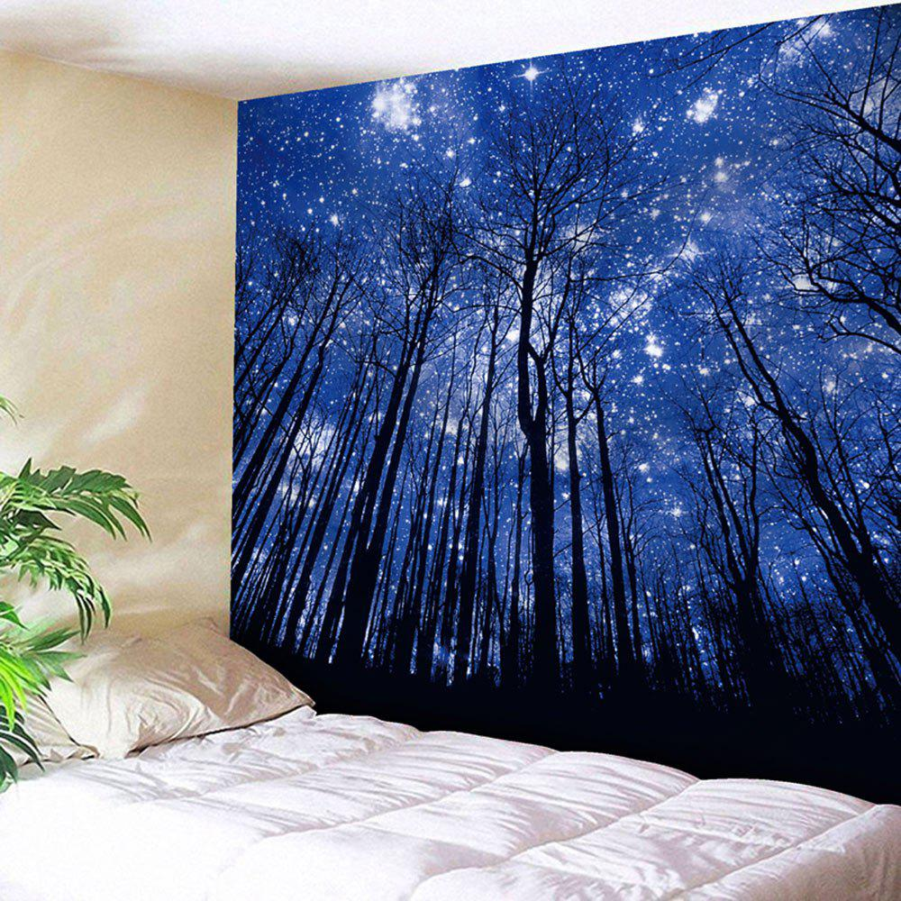 Wall Hanging Forest Printed TapestryHOME<br><br>Size: W59 INCH * L59 INCH; Color: DEEP BLUE; Style: Fresh Style; Theme: Plants/Flowers; Material: Nylon,Polyester; Feature: Removable,Washable; Shape/Pattern: Plant,Print; Weight: 0.2000kg; Package Contents: 1 x Tapestry;