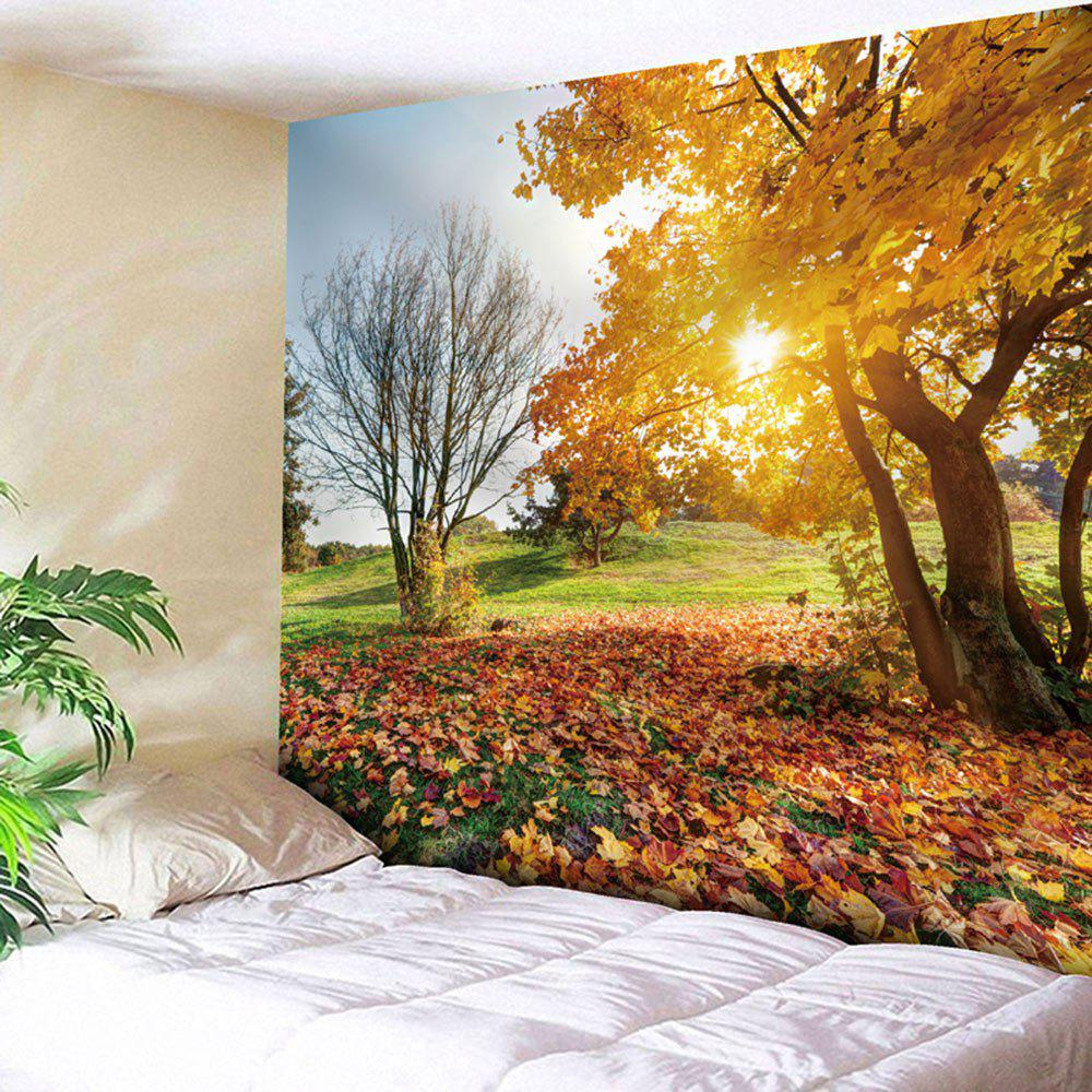 Autumn Landscape Tapestry Microfiber Wall HangingHOME<br><br>Size: W91 INCH * L71 INCH; Color: YELLOW; Style: Natural; Theme: Landscape; Material: Nylon,Polyester; Feature: Removable,Washable; Shape/Pattern: Plant,Print; Weight: 0.3750kg; Package Contents: 1 x Tapestry;
